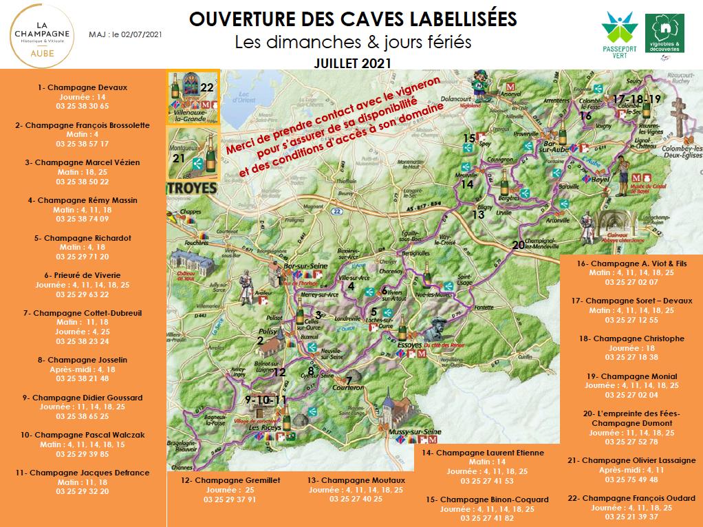 Carte des caves labellisées