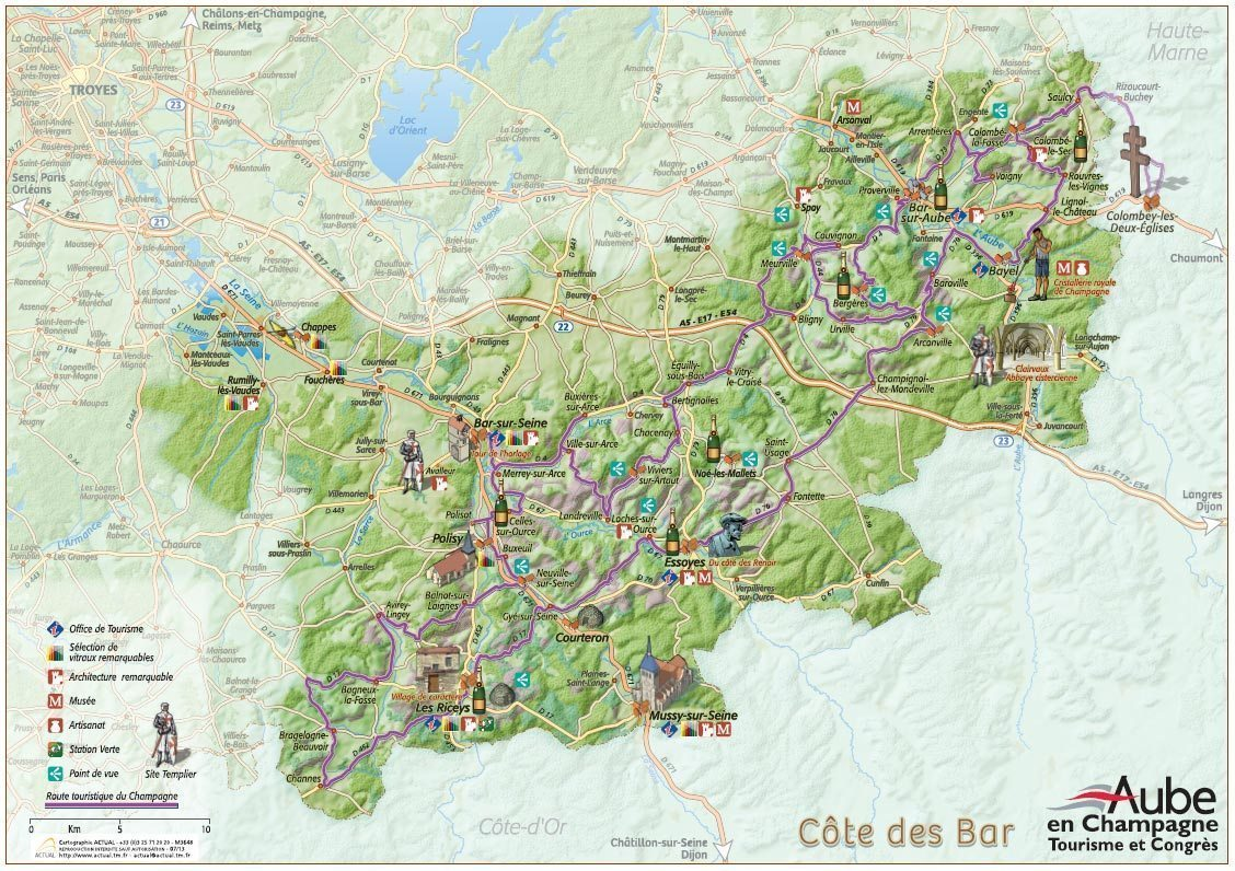 Carte touristique <br></noscript></noscript> de la Côte des bar