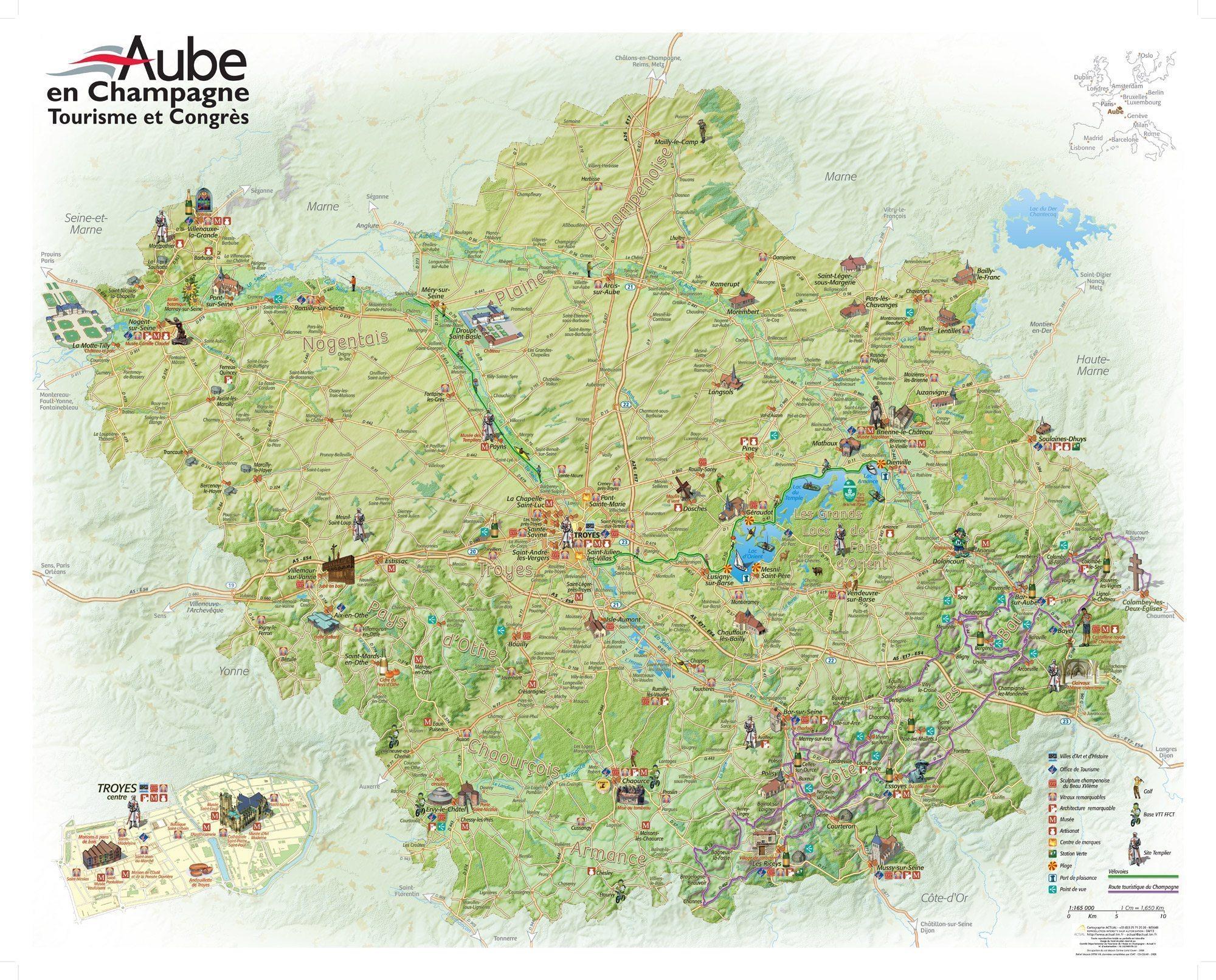 Carte et plan touristique de l 39 aube en champagne - Troyes office de tourisme ...