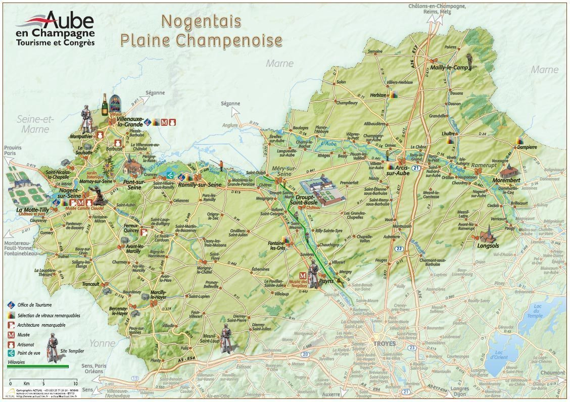 Carte touristique <br></noscript></noscript> du Nogentais - Plaine Champenoise