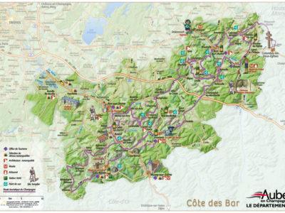 Carte Touristique de la Cote des Bar - Aube en Champagne