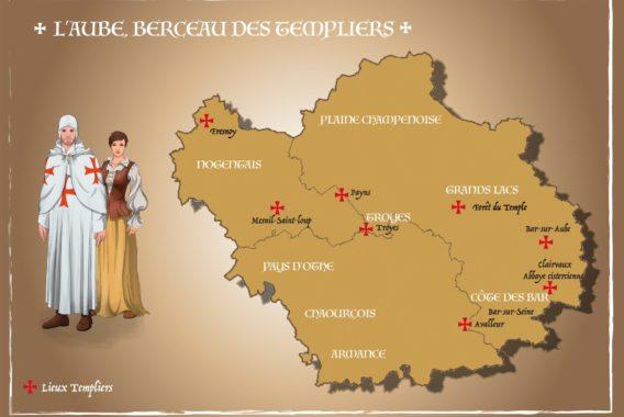 Carte Aube Berceau des Templiers