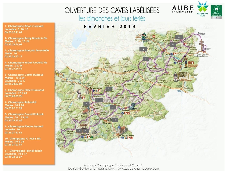 Cartes des caves labélisées ouverte en février