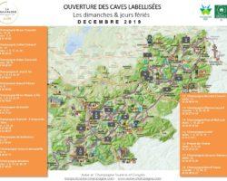 Carte des caves labellisées ouvertes les dimanches et jours fériés en décembre 2019