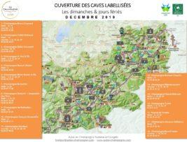Carte des caves labellisées ouvertes les dimanches et jours fériés en décembre
