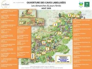 Carte des caves ouvertes les dimanches et jours fériés du mois d'août